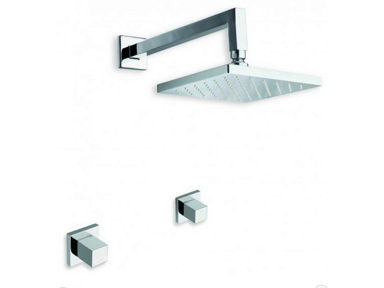 3 hole shower tap with overhead shower QUADRI | 3 hole shower tap - CRISTINA Rubinetterie