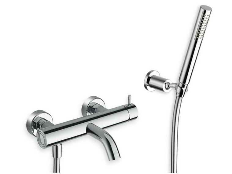 3 hole wall-mounted bathtub mixer with hand shower TRICOLORE VERDE | Bathtub mixer with hand shower - CRISTINA Rubinetterie