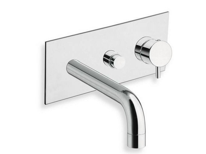 Wall-mounted bathtub mixer with diverter with plate TRICOLORE VERDE | Bathtub mixer with plate - CRISTINA Rubinetterie