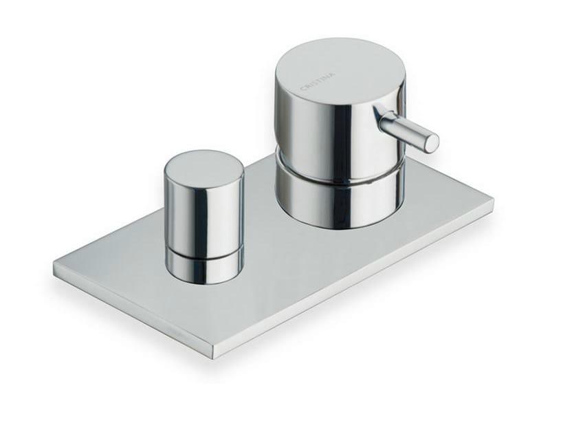Chrome-plated bathtub mixer with diverter with plate TRICOLORE VERDE | Bathtub mixer - CRISTINA Rubinetterie