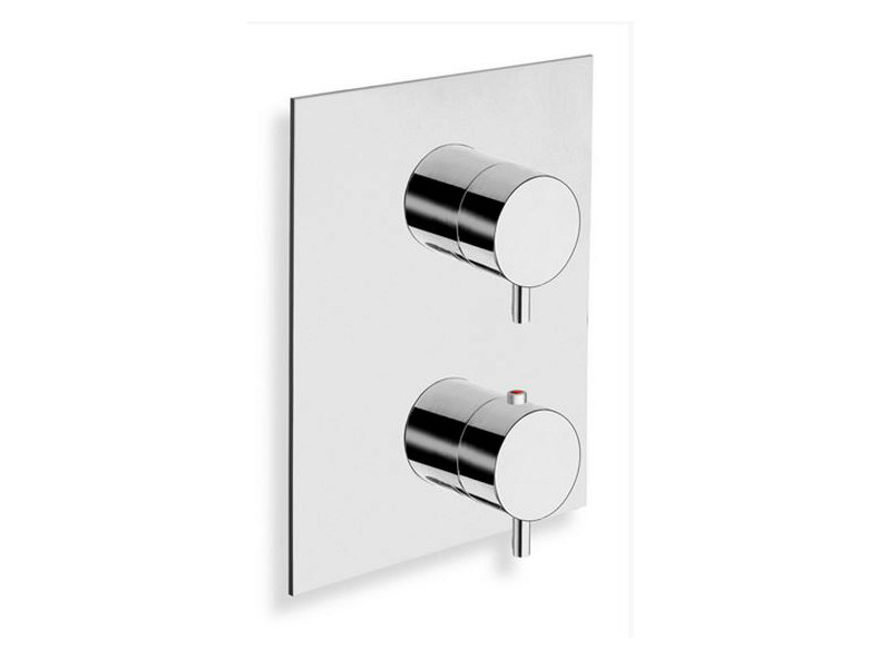 Chrome-plated thermostatic shower mixer TRICOLORE VERDE | Thermostatic shower mixer with plate - CRISTINA Rubinetterie