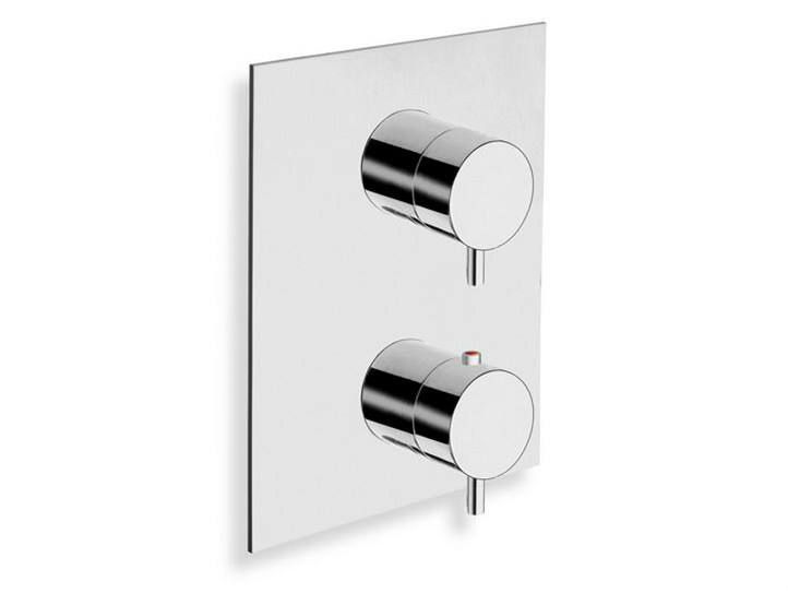 Chrome-plated thermostatic shower mixer with plate TRICOLORE VERDE | Thermostatic shower mixer - CRISTINA Rubinetterie