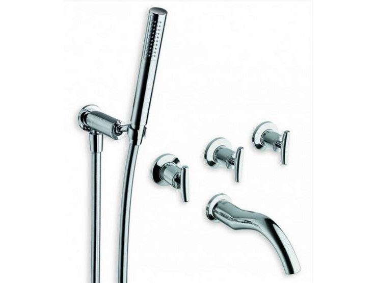 5 hole wall-mounted bathtub tap with hand shower SELTZ | 5 hole bathtub tap - CRISTINA Rubinetterie