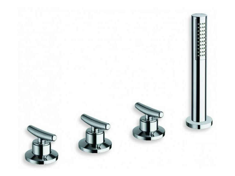 4 hole bathtub tap with diverter with hand shower SELTZ | Bathtub tap with diverter by CRISTINA