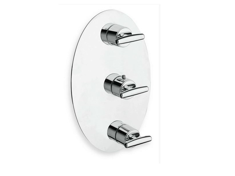 Chrome-plated thermostatic shower tap with plate SELTZ | Shower tap with plate - CRISTINA Rubinetterie