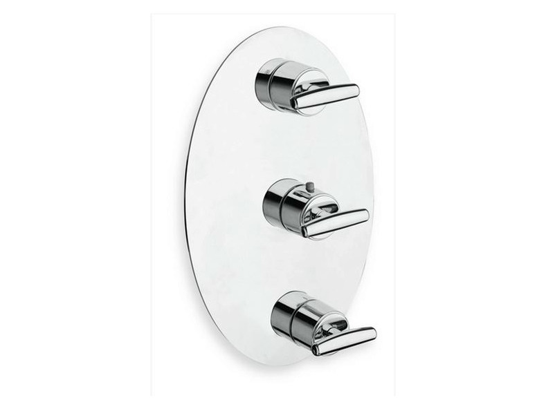 Chrome-plated thermostatic shower tap with plate SELTZ | Chrome-plated shower tap - CRISTINA Rubinetterie