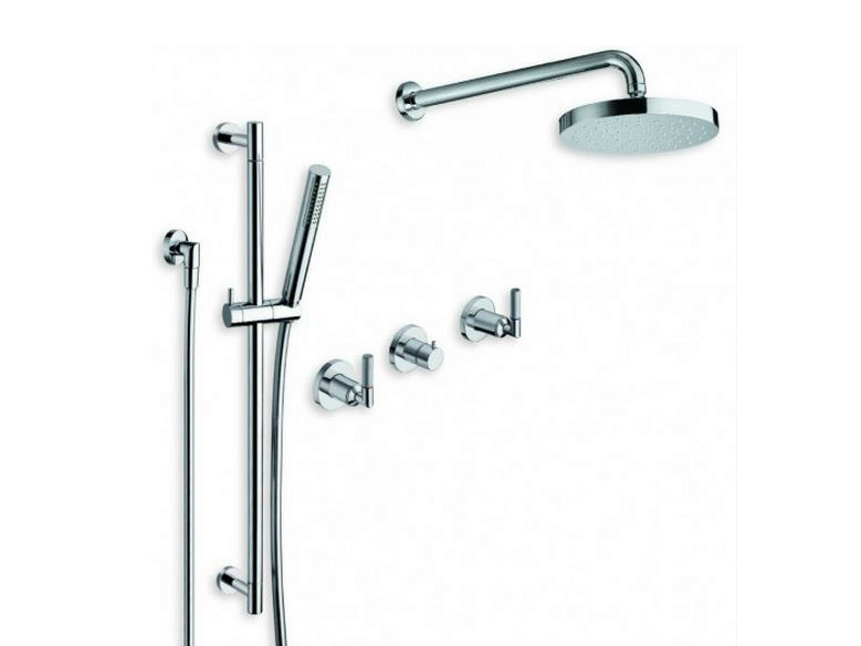Chrome-plated shower wallbar with hand shower with overhead shower PICCHE ELITE | Shower wallbar - CRISTINA Rubinetterie