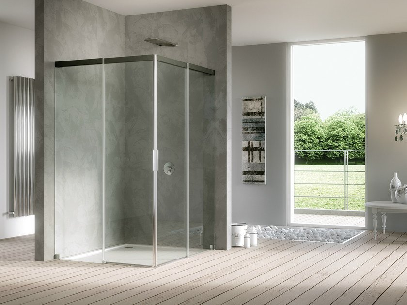 Crystal shower cabin with sliding door ACQUA 5000 by DUKA