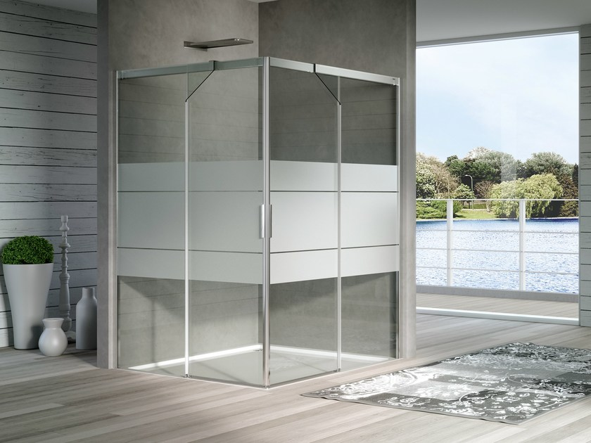 Crystal shower cabin with sliding door ACQUA R 5000 - DUKA