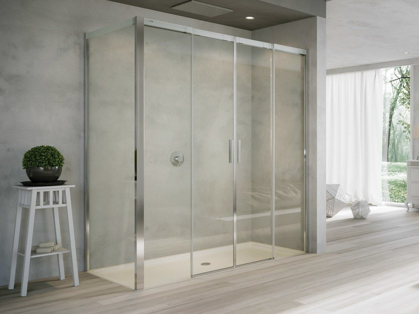 Box doccia in cristallo con porte scorrevoli acqua r 5000 for Porte douche plexiglas