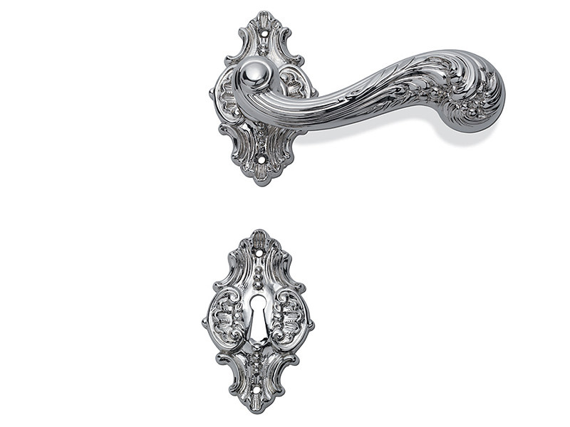 Classic style door handle on rose C01215 - ELISABETTA | Brass door handle - Enrico Cassina