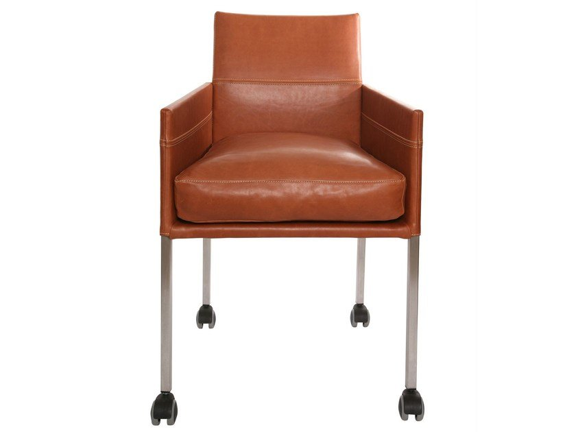 Upholstered leather chair with armrests with casters TEXAS | Chair with casters - KFF