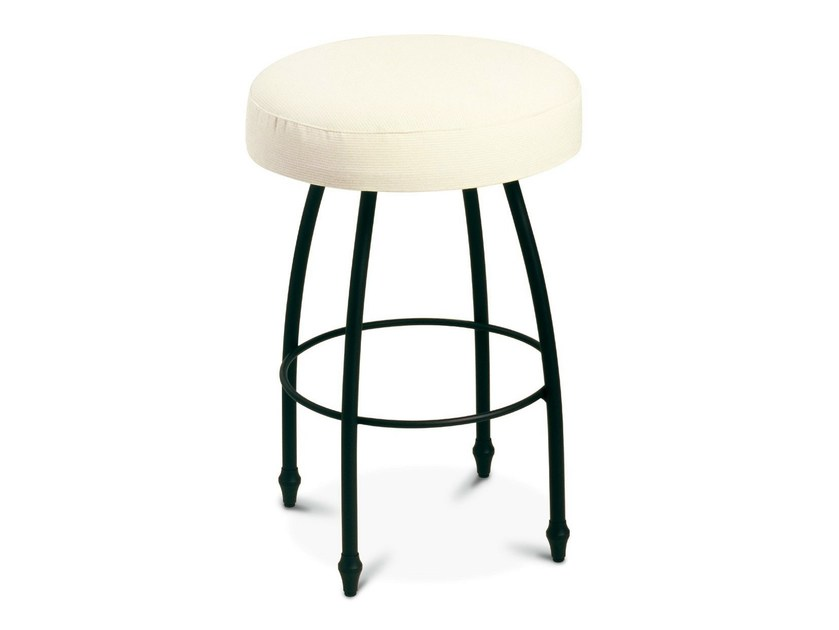 Low upholstered iron stool ALADINO | Stool - Cantori