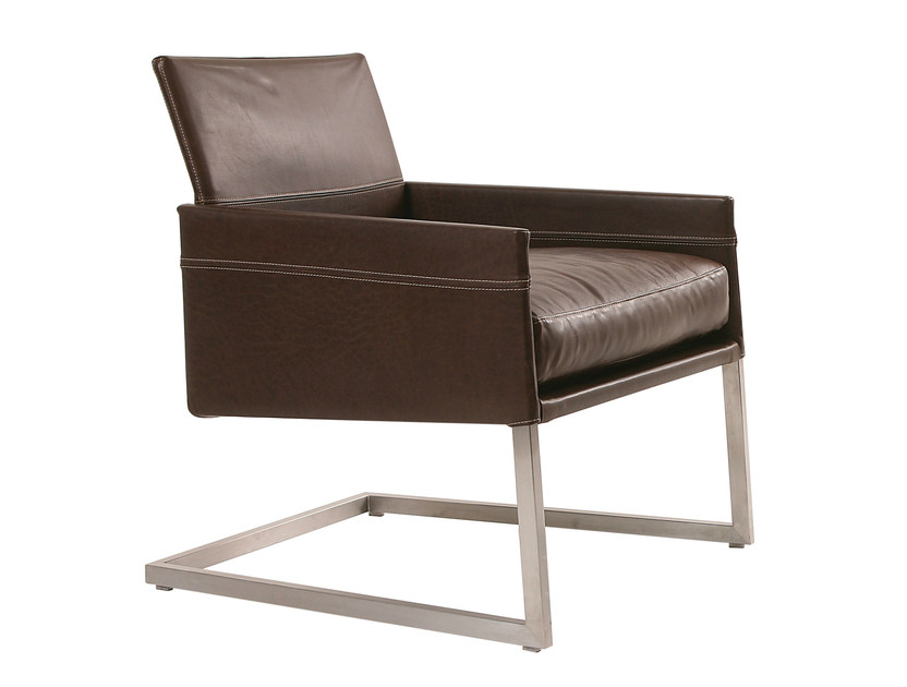 Cantilever upholstered leather armchair with armrests TEXAS | Cantilever armchair - KFF