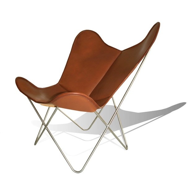 Leather armchair HARDOY BUTTERFLY CHAIR by WEINBAUM