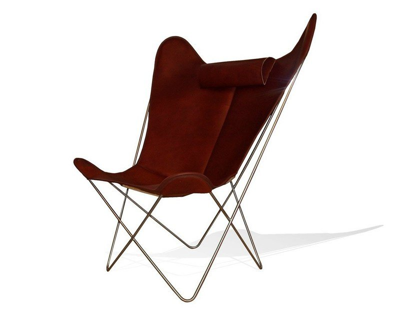 Leather armchair with headrest HARDOY BUTTERFLY CHAIR GRAND COMFORT - WEINBAUM