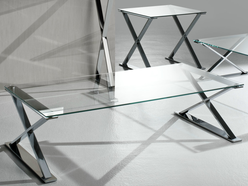 Rectangular crystal and stainless steel coffee table ICS | Rectangular coffee table - F.lli Orsenigo