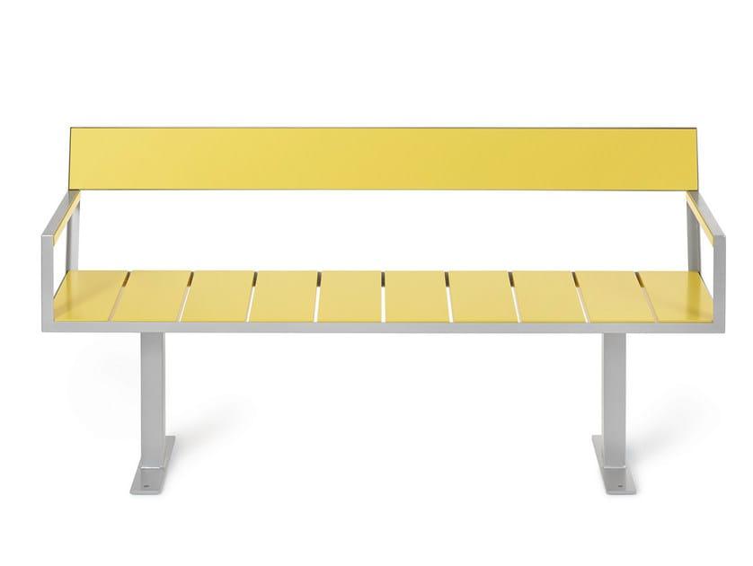 Steel Bench with back SIDEWALK | Bench - Nola Industrier
