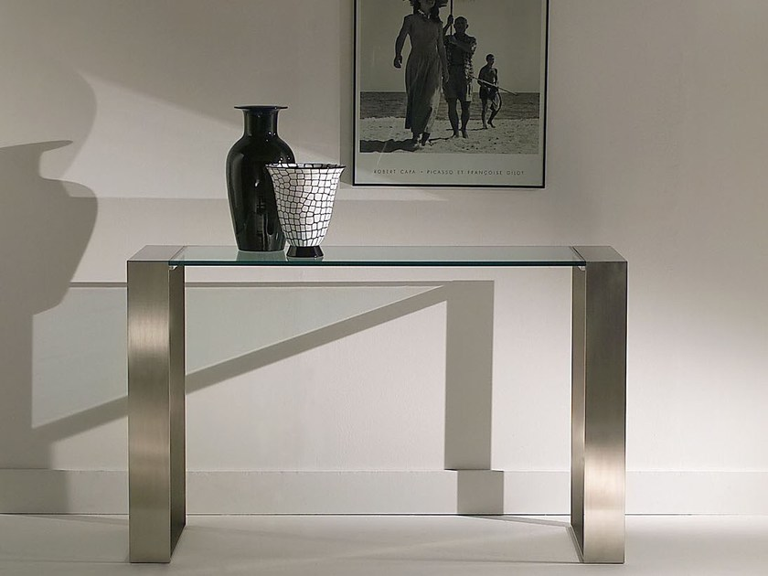 Rectangular glass and steel console table RING | Console table by F.lli Orsenigo