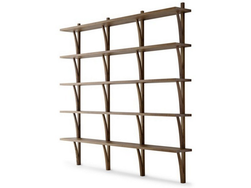 Wall-mounted sectional wooden bookcase MORAAR | Bookcase - Passoni Nature