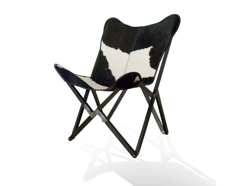 Folding cowhide garden chair TRIPOLINA BUTTERFLY CHAIR ORIGINAL - WEINBAUM
