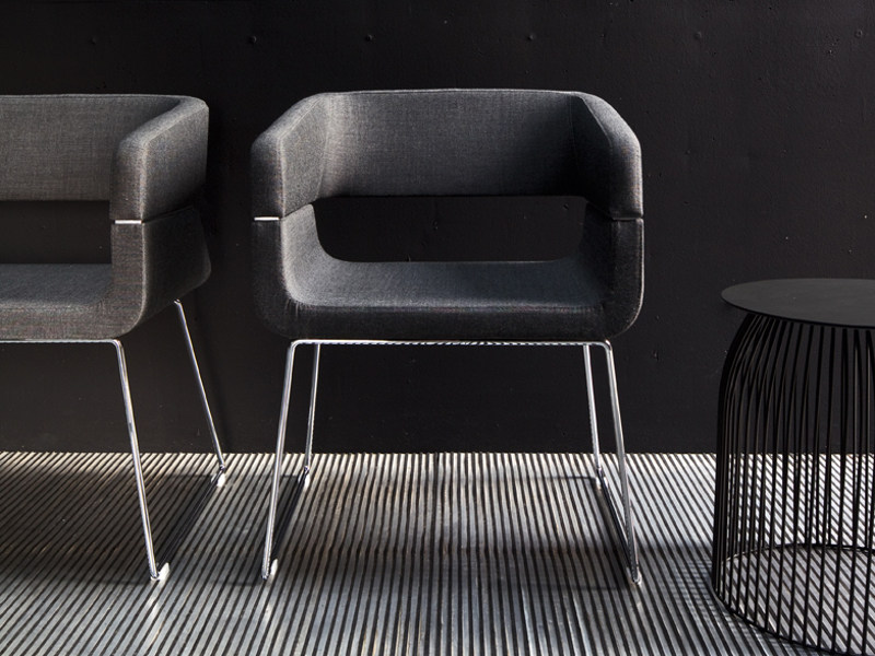 Sled base easy chair with armrests MATRIX   Sled base easy chair - La Cividina
