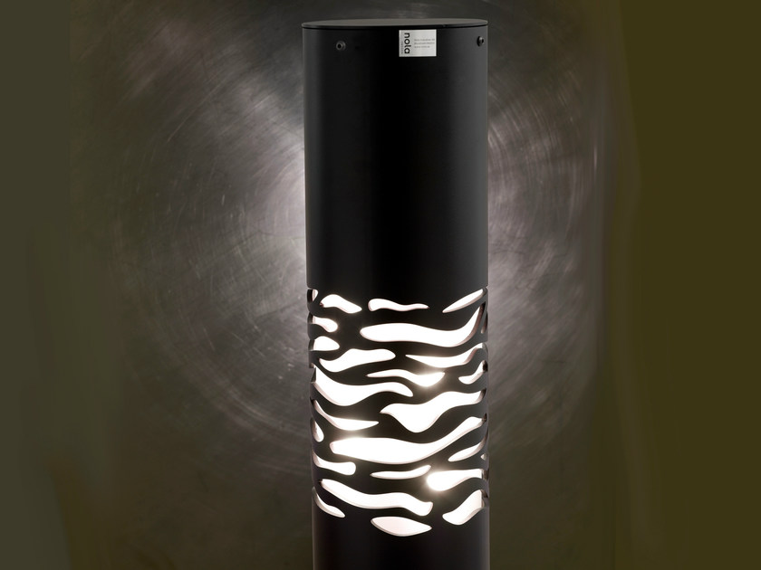 Powder coated steel bollard with built-in light GEFLE by Nola Industrier