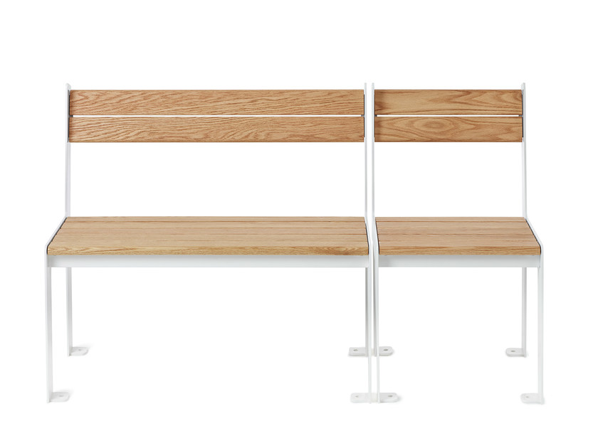 Steel and wood garden bench LOW/HIGH | Garden bench by Nola Industrier