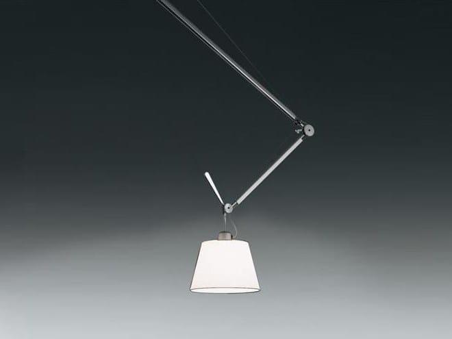 Direct light halogen adjustable satin pendant lamp TOLOMEO SUSPENSION DECENTRALIZED - Artemide