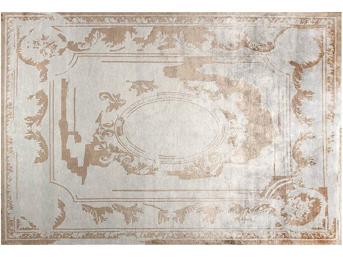 Handmade rectangular silk rug FONTENAY NEW AGE SILVER by EDITION BOUGAINVILLE