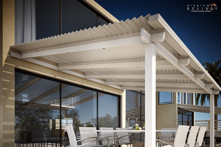 Wall-mounted pergola with adjustable louvers ECLISSI ADDOSSATA - DIRELLO