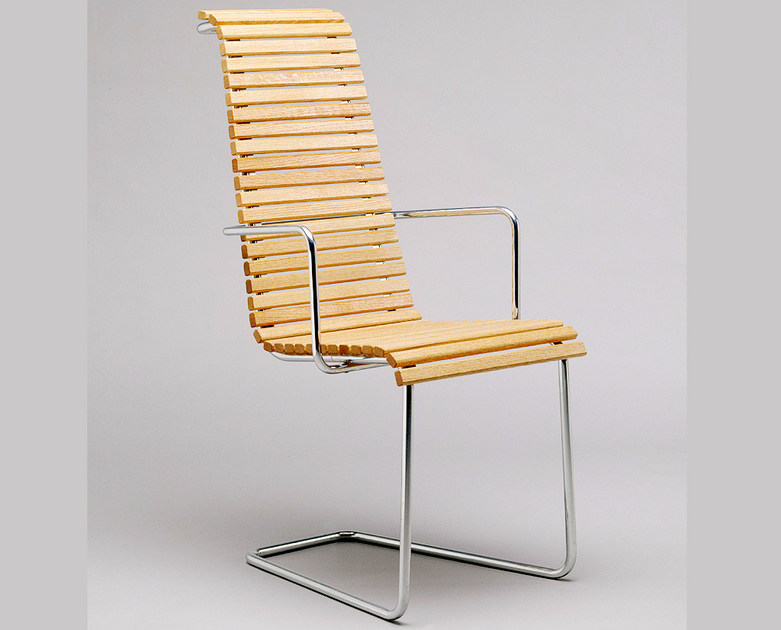 Cantilever steel and wood garden chair with armrests DJURGÅRDSBRUNN | Garden chair by Nola Industrier