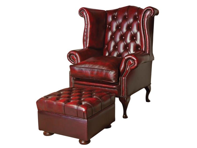 kapitonierter sessel aus gegerbtem leder mit armlehnen kollektion graham by fleming howland. Black Bedroom Furniture Sets. Home Design Ideas