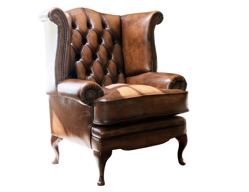 fauteuil capitonn en cuir tann e avec accoudoirs collection edward by fleming howland. Black Bedroom Furniture Sets. Home Design Ideas