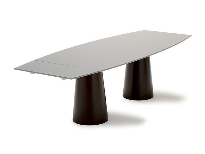 Tavolo allungabile in acciaio inox e cristallo totem extensible by sovet italia - Tavoli acciaio inox prezzi ...