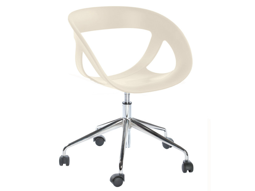 Technopolymer chair with 5-spoke base with casters MOEMA 76 5R - GABER