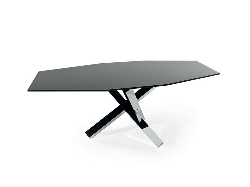 Glass table AIKIDO POLYGONAL - SOVET ITALIA