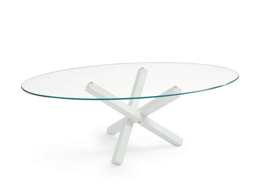 Tavolo ovale in vetro aikido elliptical sovet italia - Tavolo ovale vetro ...