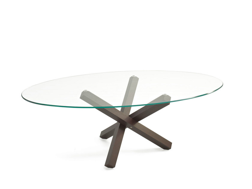 Oval glass table AIKIDO ELLIPTICAL - SOVET ITALIA