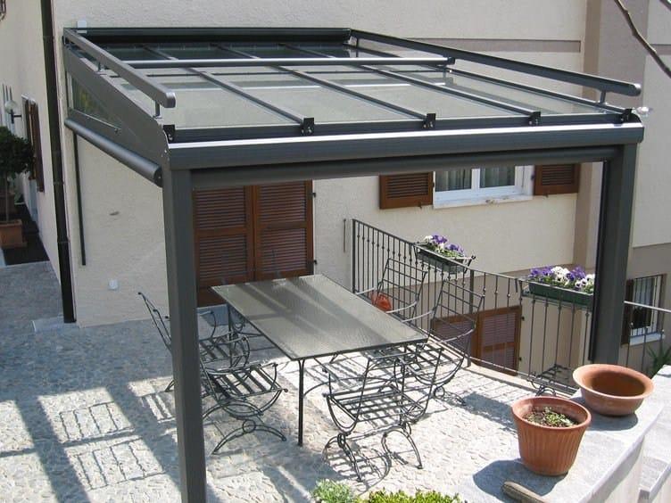 Tettoia in alluminio e vetro td 100 frubau for Piani tetto shed