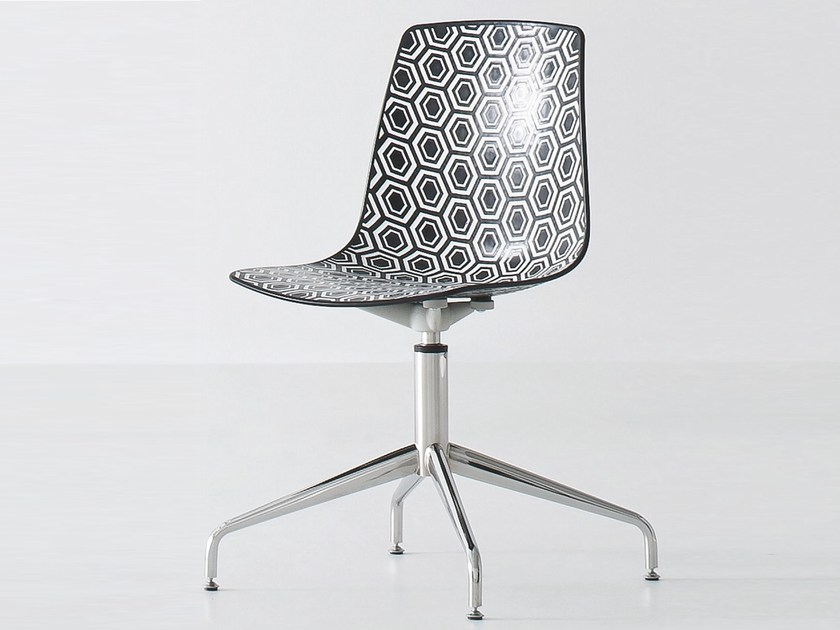 Swivel technopolymer chair with 4-spoke base ALHAMBRA L - GABER