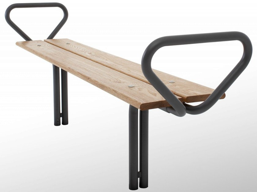 Backless steel and wood Bench BUDGET | Backless Bench - Nola Industrier