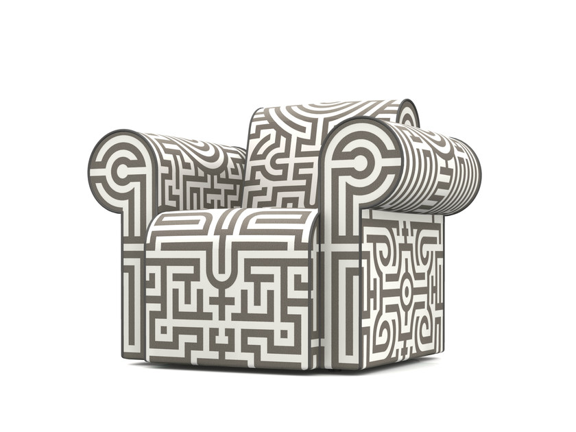 Upholstered Dacron® armchair with armrests LABYRINTH CHAIR GREY by moooi