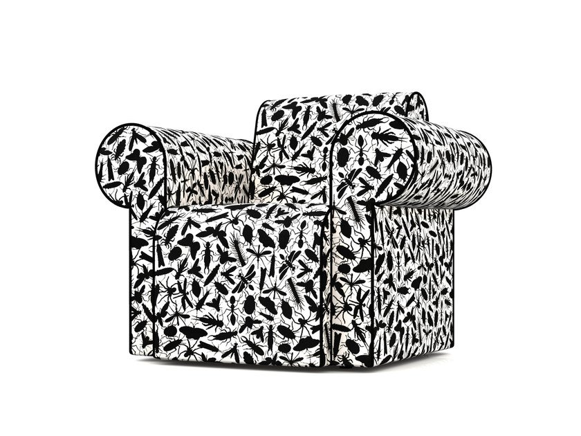 Upholstered Dacron® armchair with armrests LABYRINTH CHAIR INSECT - Moooi©