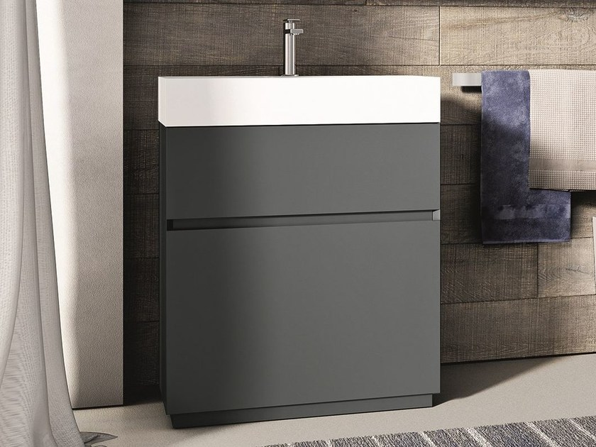 Lacquered single vanity unit CUBIK | Lacquered vanity unit - IdeaGroup
