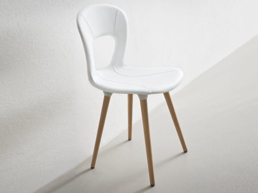 Upholstered wooden chair BLOG BL - GABER