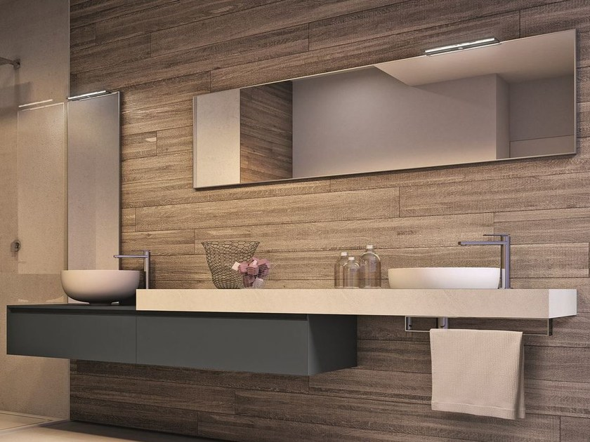 Wall-mounted vanity unit with mirror CUBIK | Vanity unit with mirror - IdeaGroup