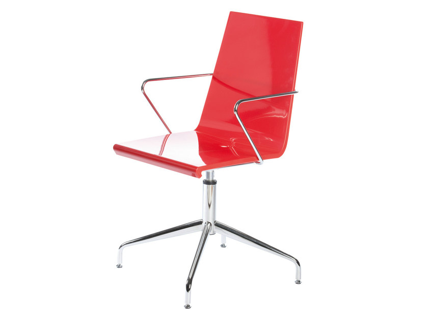 Chair with 4-spoke base with armrests SNAKE 46 L by GABER