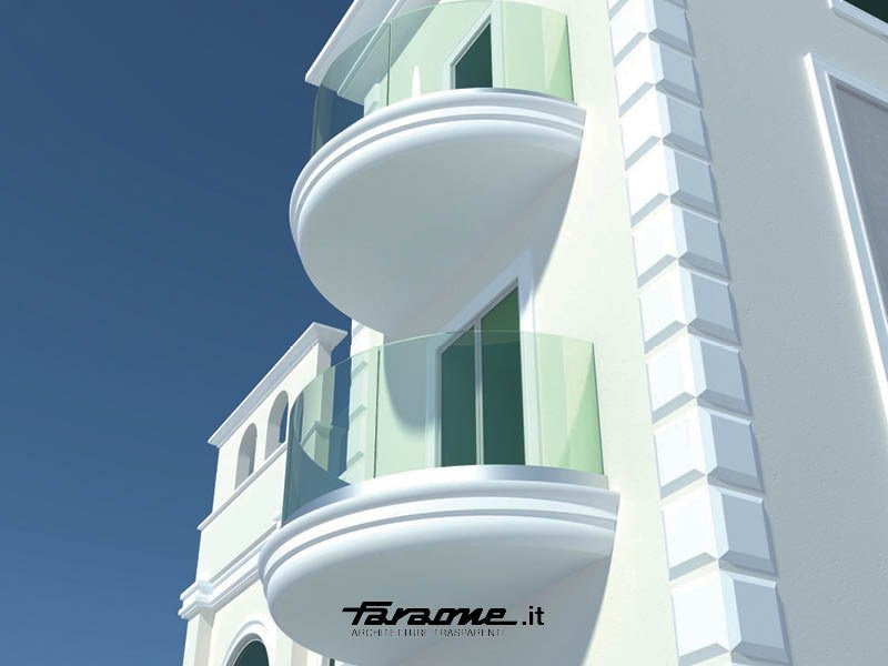 Glass and aluminium balustrade NINFA CURVED - FARAONE