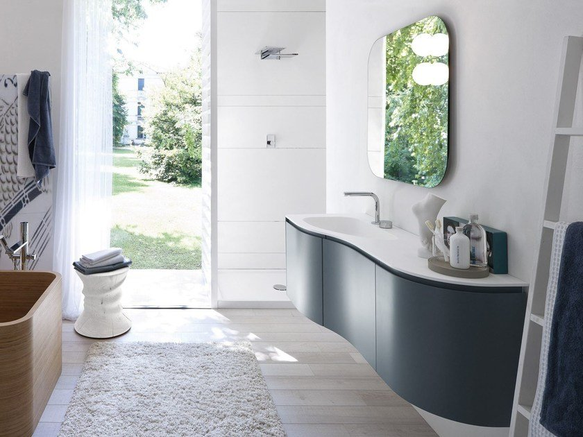 Lacquered vanity unit with mirror COMP MSP10 - IdeaGroup